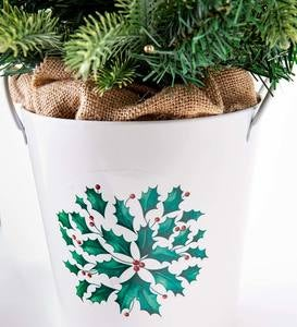 Lighted Tabletop Christmas Tree in White Bucket with Holly Design