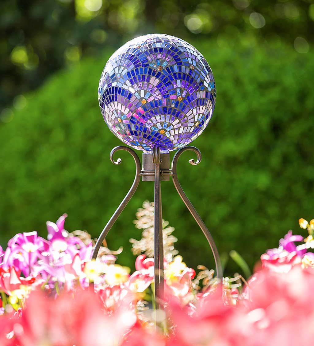 Purple Mosaic Rainbow Glass Gazing Ball