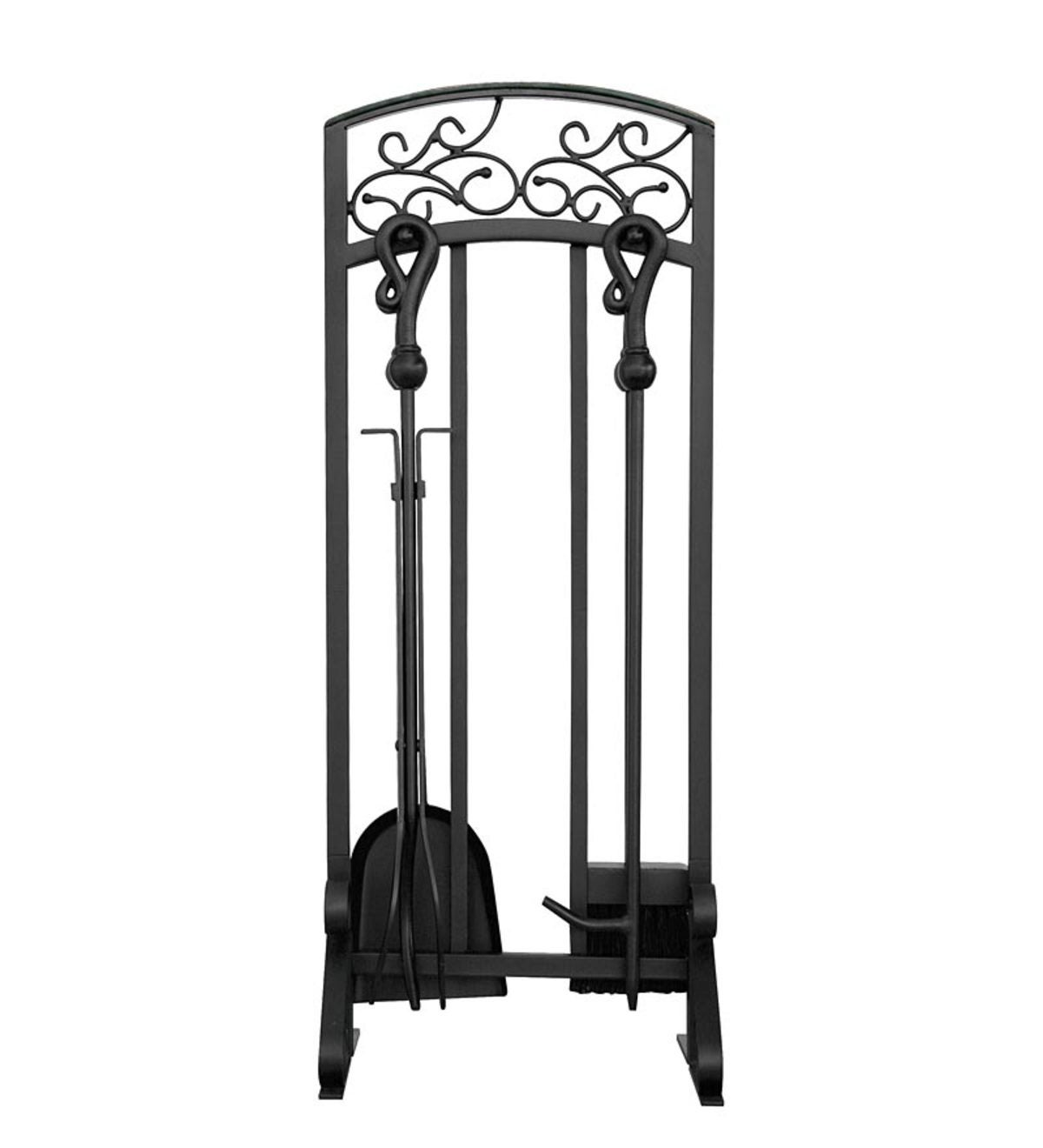 Black Wrought Iron 5-Piece Fireplace Tool Set with Hammered Copper Top Trim - Black