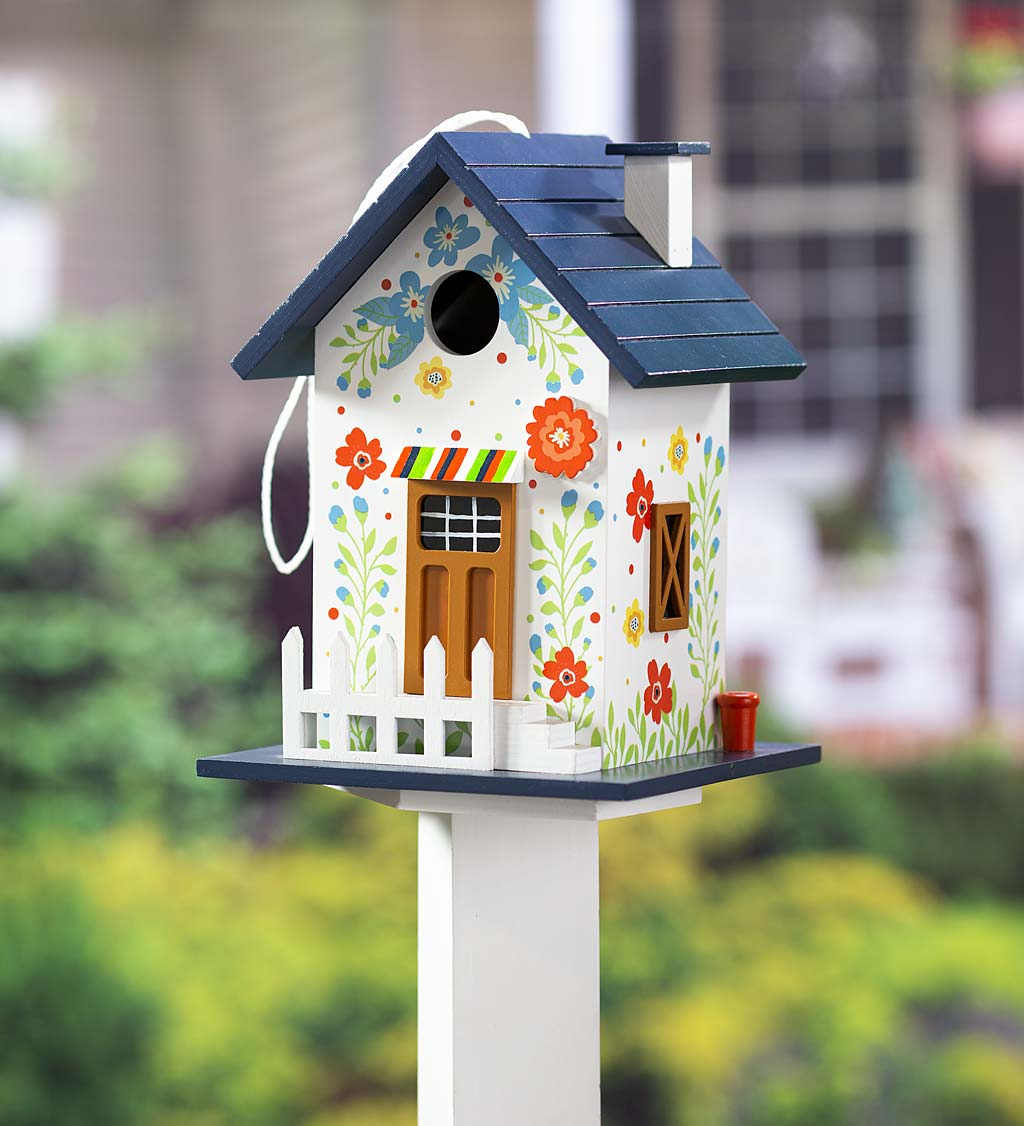 Hand-Painted Blooming Birdhouse with Floral Design