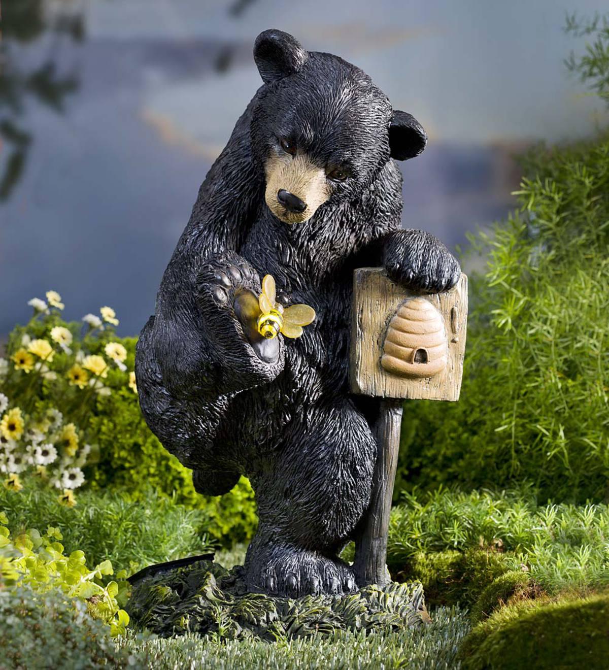 Solar Bear With Bee Garden Statue