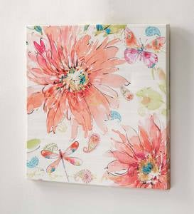 Indoor/Outdoor Floral Watercolor Wall Canvas
