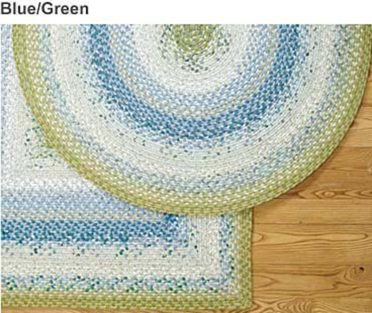 4' x 6' Rectangular Cotton Blend Braided Rug - Blue/Green