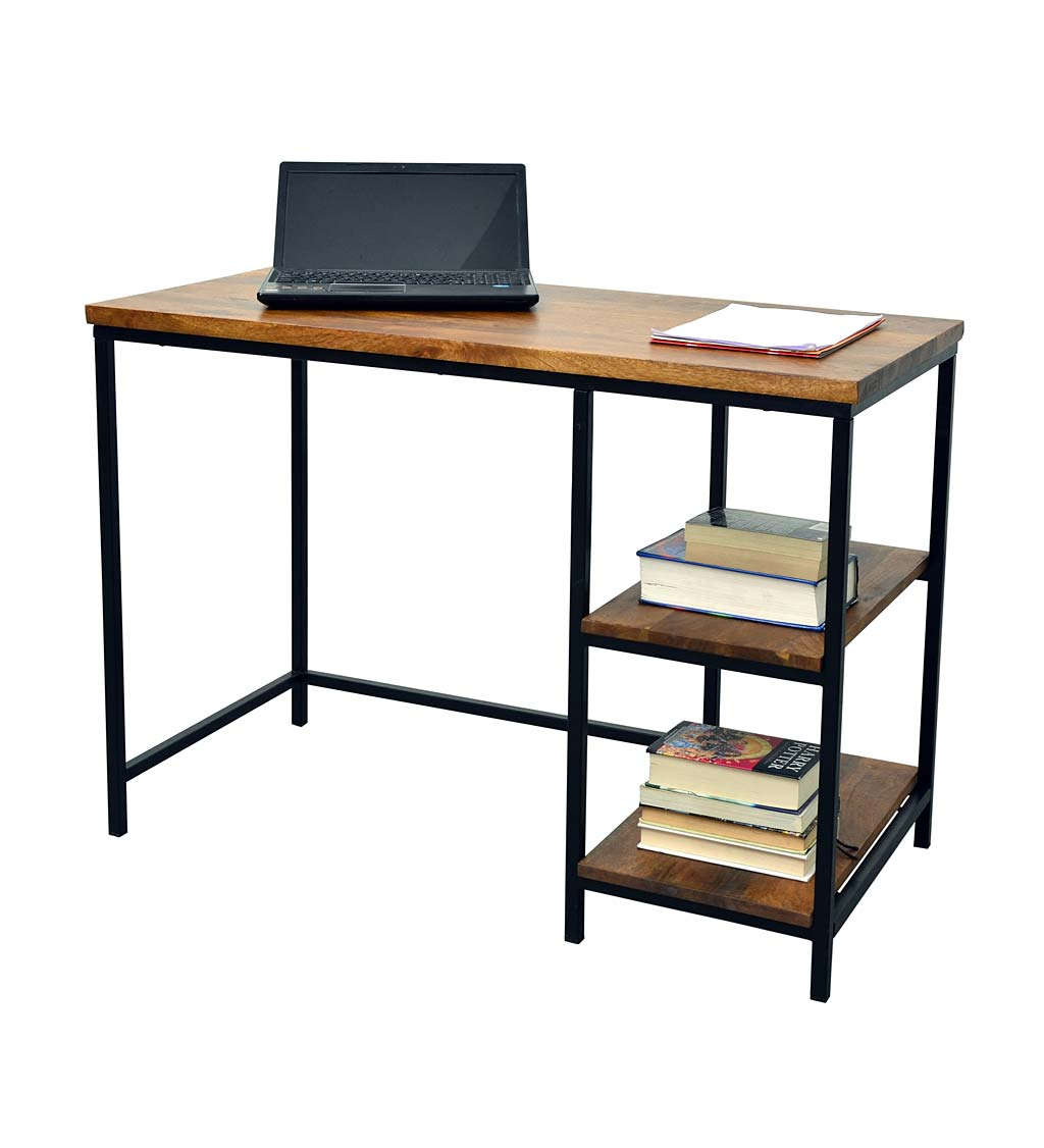 Industrial-Style Wood and Metal Desk with Shelves swatch image