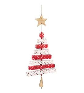 Wooden Red and White Christmas Tree Ornament