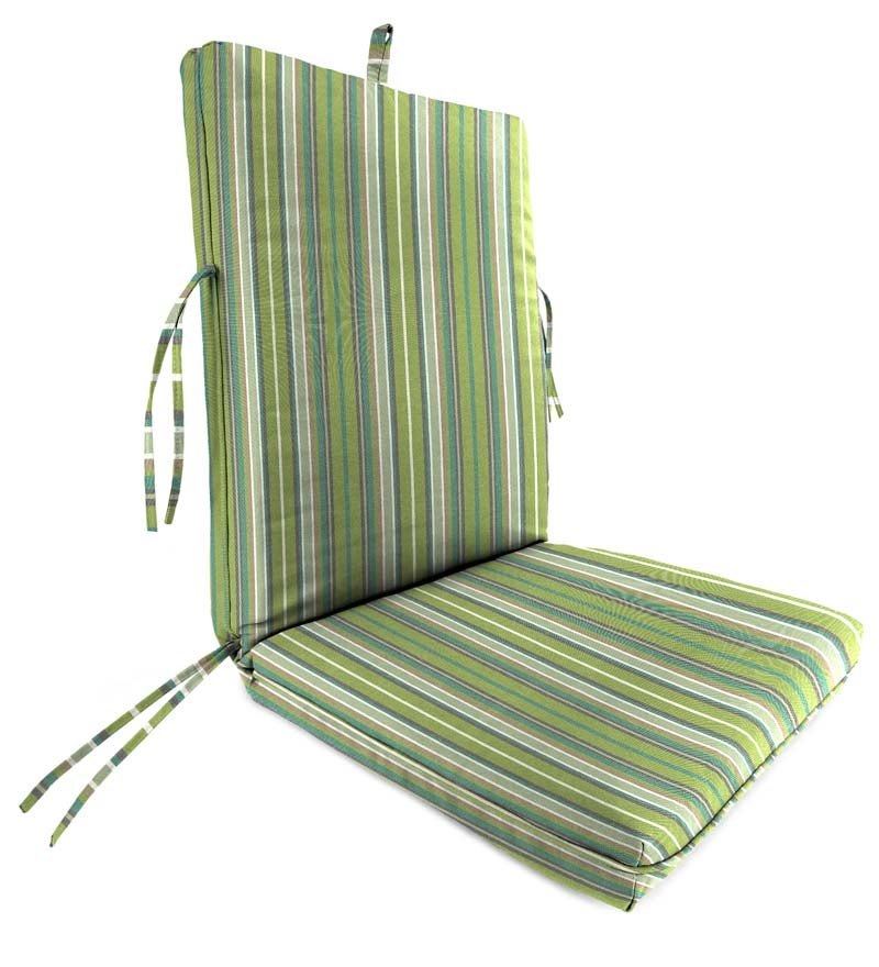 "Sunbrella Classic Large Club Chair Cushion With Ties, 44"" x 22"" with hinge 22"" from bottom swatch image"