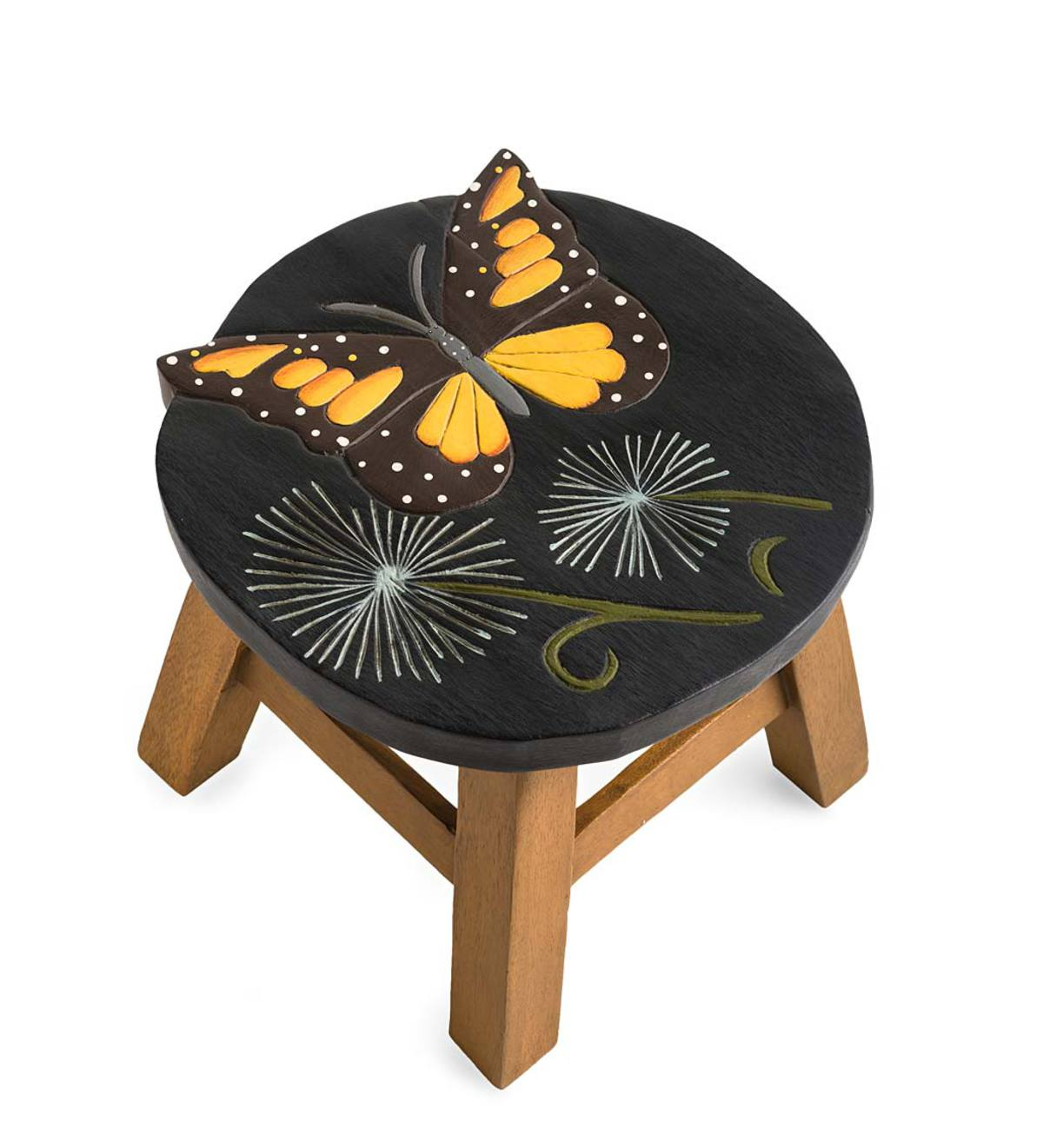 Hand-Carved Wood Butterfly Footstool