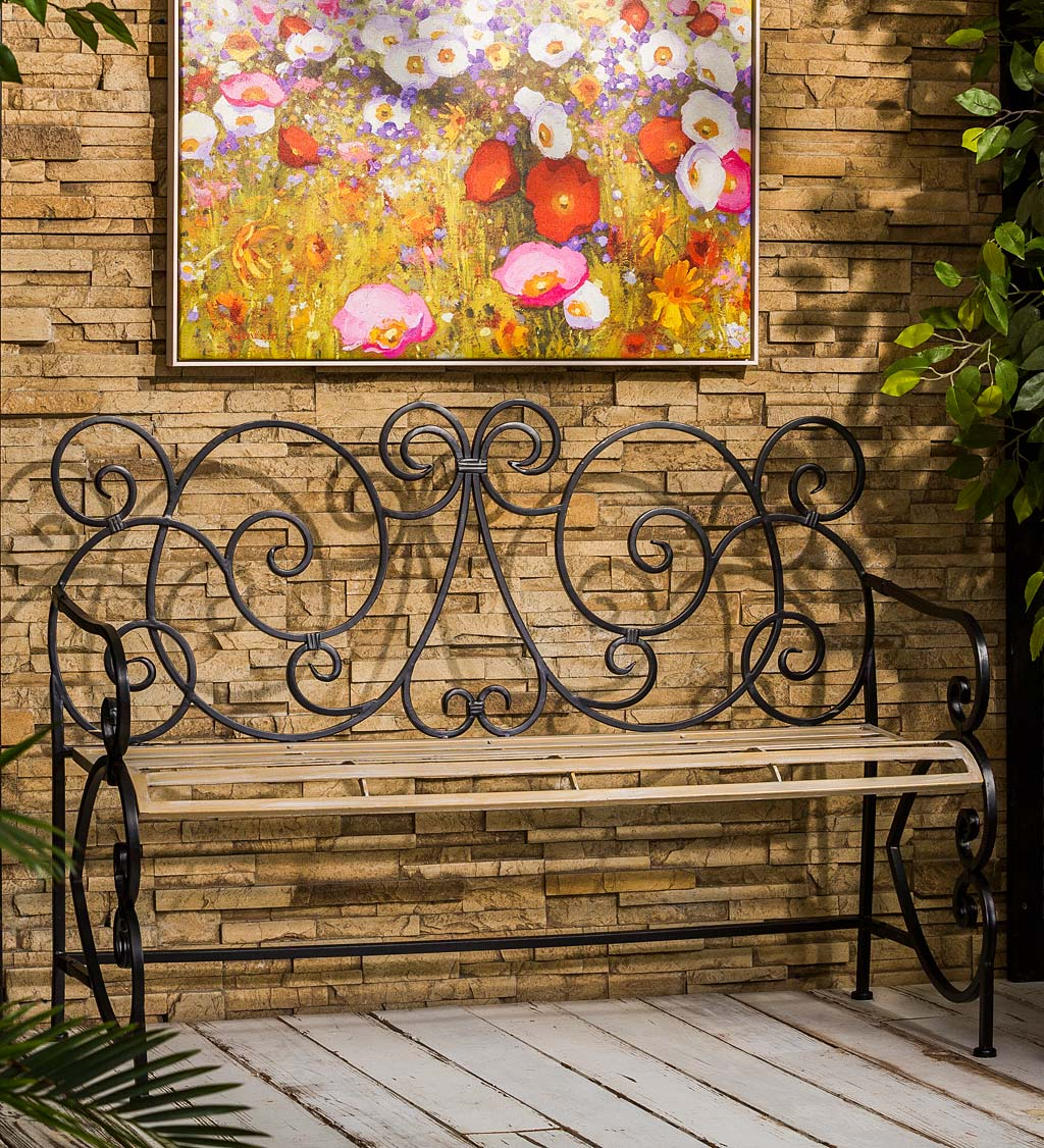 European Style Scroll Metal Garden Bench