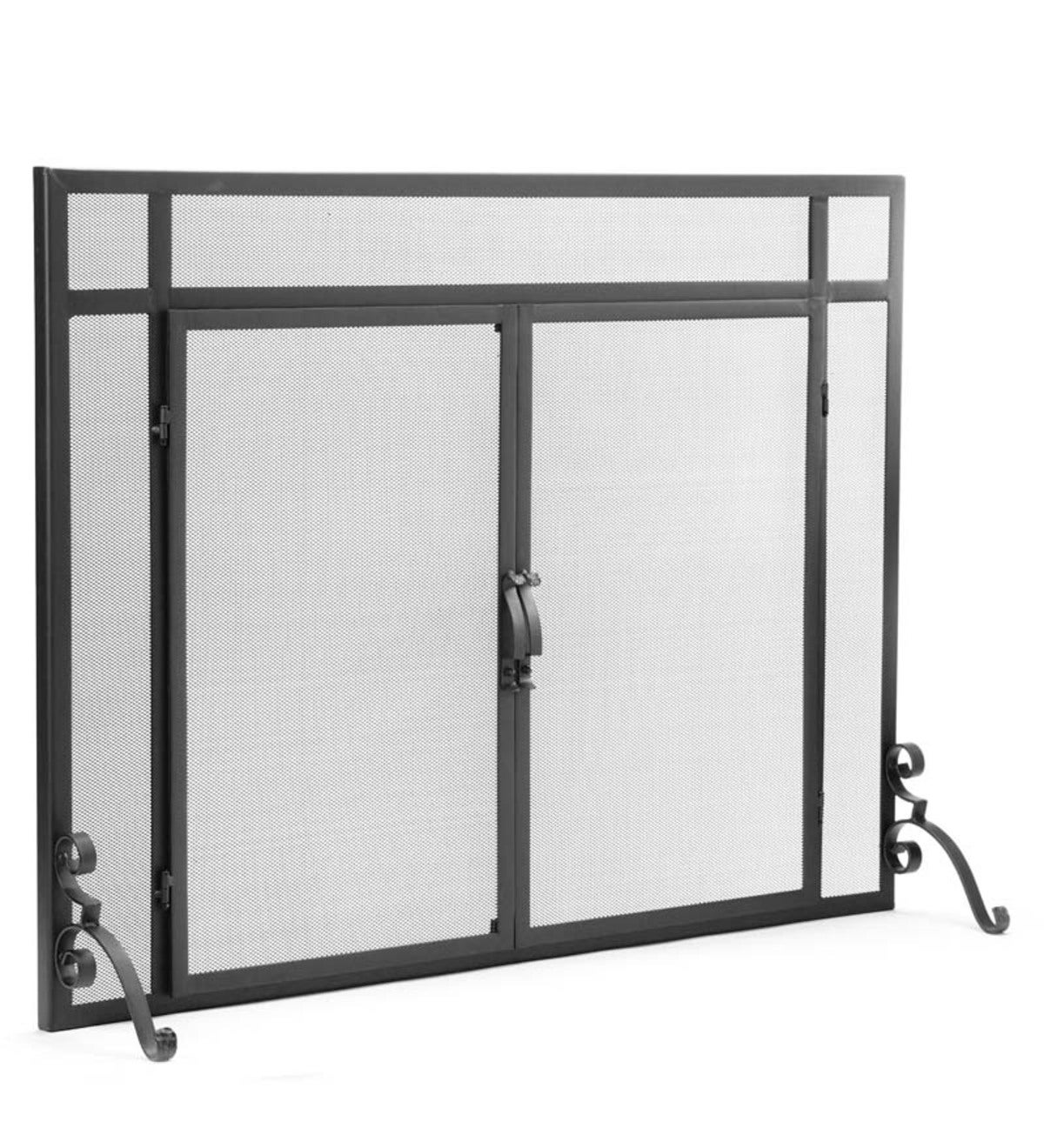 "Flat Guard Fire Screens With Doors in Solid Steel, 39""W x 31""H - Black"