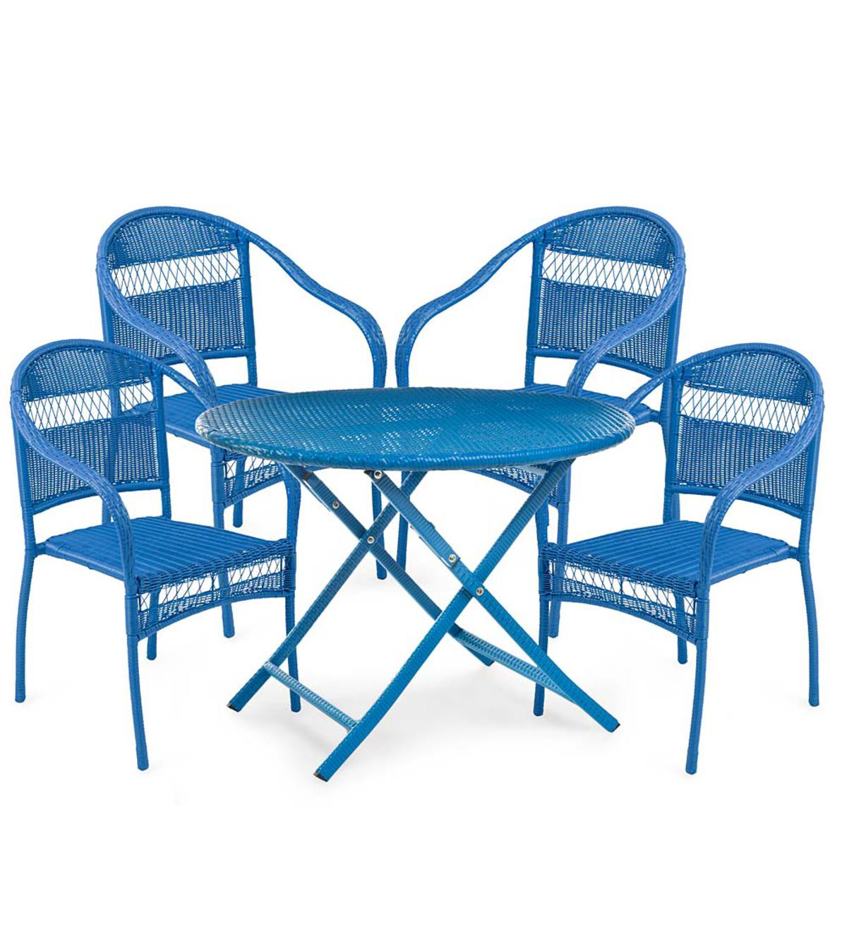 Tangier Wicker Folding Round Dining Table And 4 Stacking