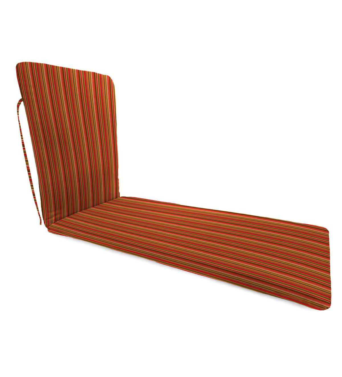 "Sunbrella Classic Chaise Cushion With Ties, 76""x 23""x 3""hinged 47½""from bottom - Cherry Stripe"