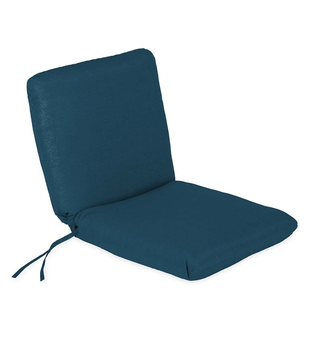 "Sunbrella Classic Chair Cushion With Ties, Seat 19""x 17""x 2½""; Back 19""x 19""x 2½"""