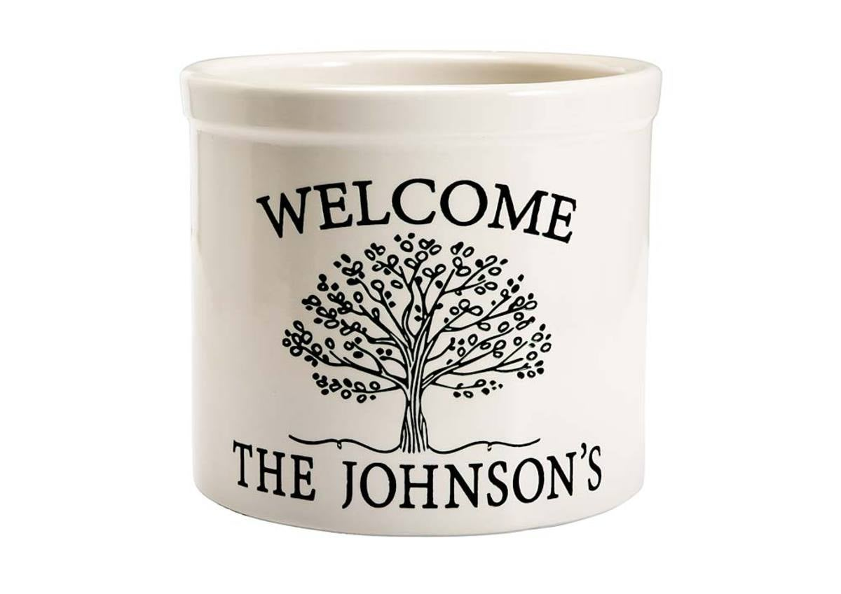 Personalized Tree of Life Crock - Black