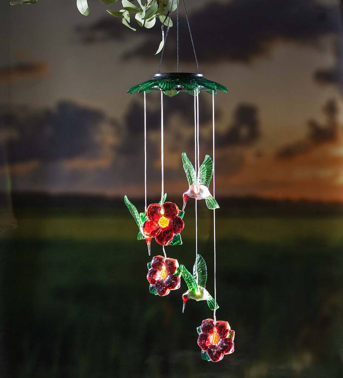 Color Changing Solar Mobile with Hummingbirds and Flowers