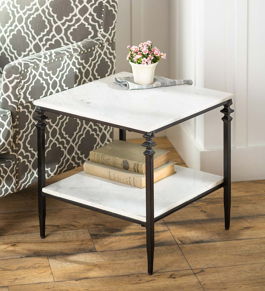 Indoor/Outdoor Nottoway White Marble End Table