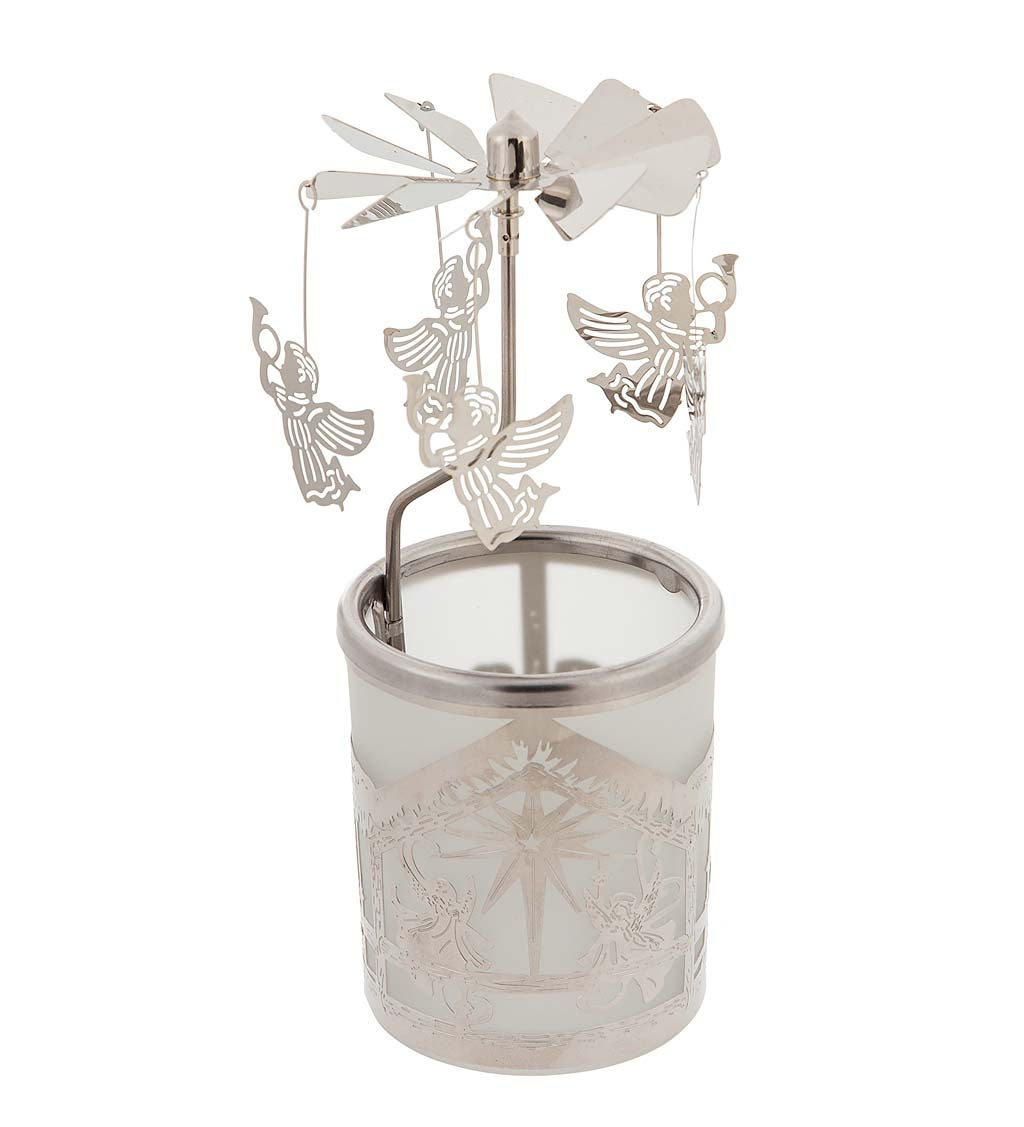 Rotating Winter Scene Windmill-Style Candle Holder