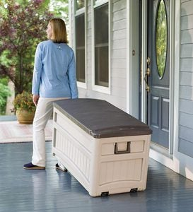 Large Rolling Weather-Resistant Resin Storage Box with Stay-Dry Lid and Wheels