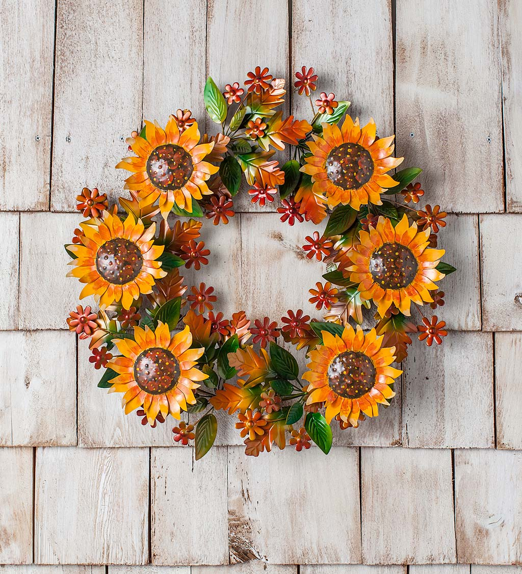 Autumn Sunflowers Metal Wreath