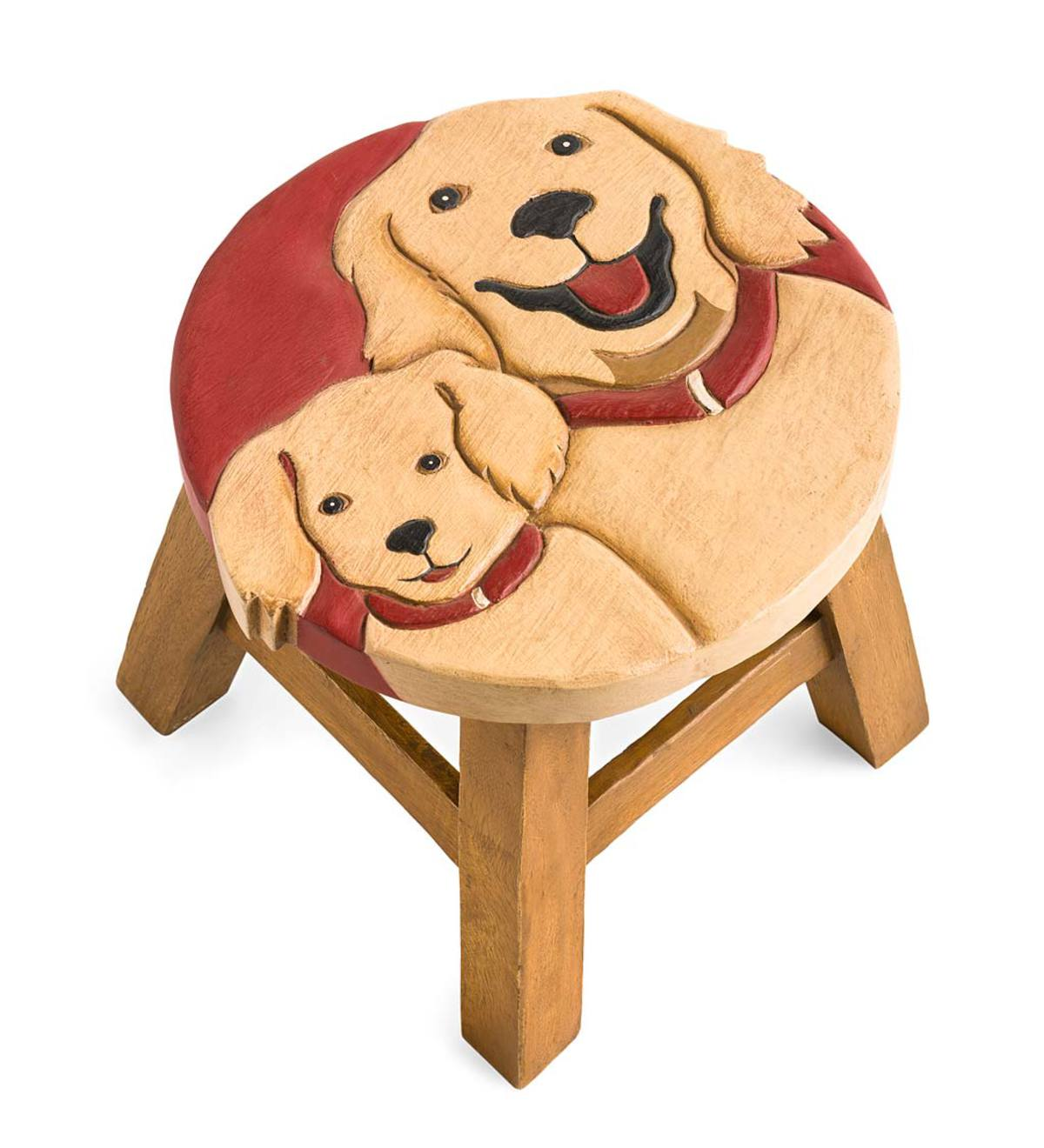 Hand-Carved Wood Golden Retrievers Footstool