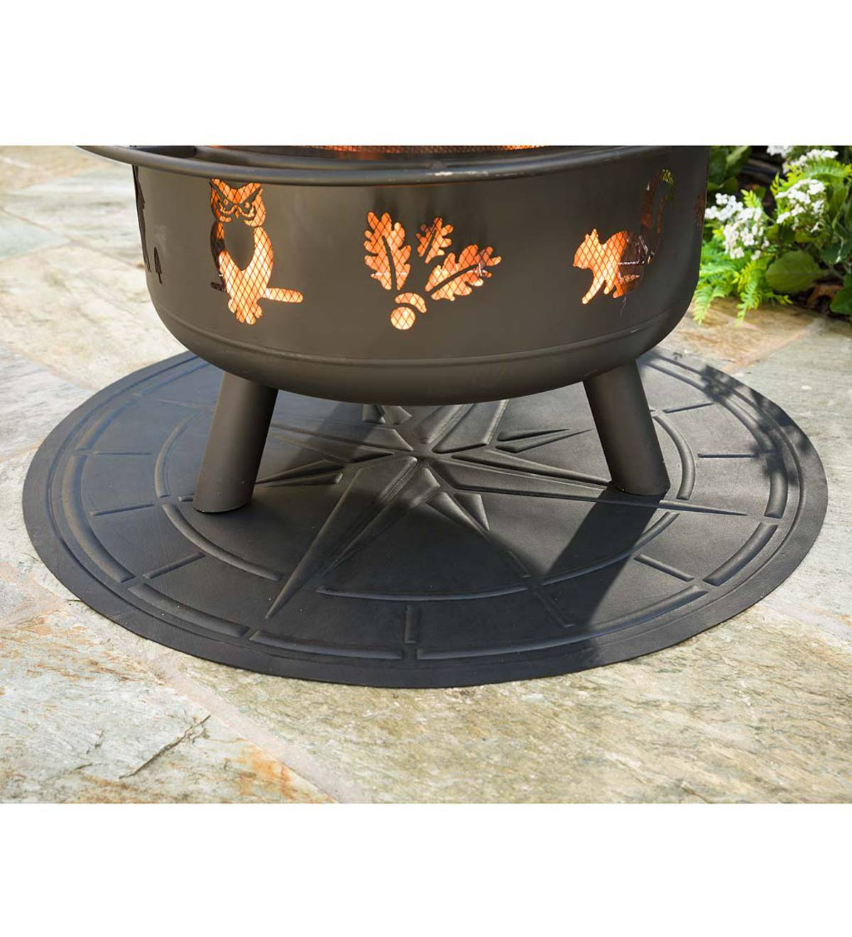 Flame Resistant Protective Mat For Fire Pit And Grill Compass Design Plowhearth