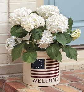 USA-Made Americana Welcome Stoneware Crock