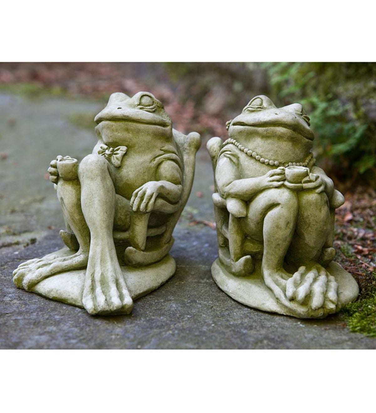 USA Made Cast Stone Coffee And Tea Frog Garden Statues