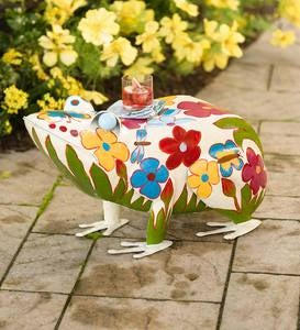 Folk Art Frog Table in Colorful Painted Metal