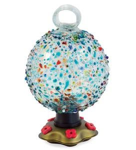 Recycled Glass Round La Fortuna Hummingbird Feeder