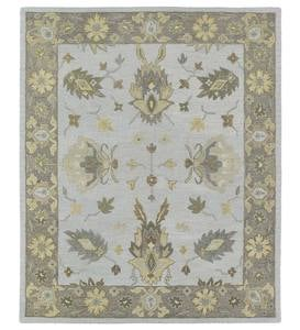 "Baroque Border Silver Wool Rug, 9'6""x 13'"
