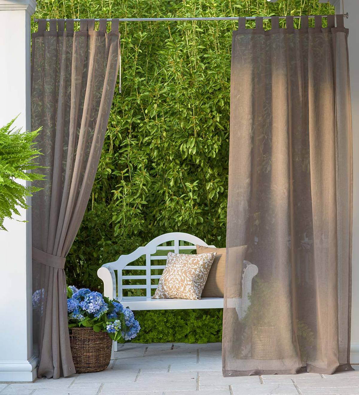 "SunSpun Tab Top Outdoor Curtain, 54""W x 96""L"