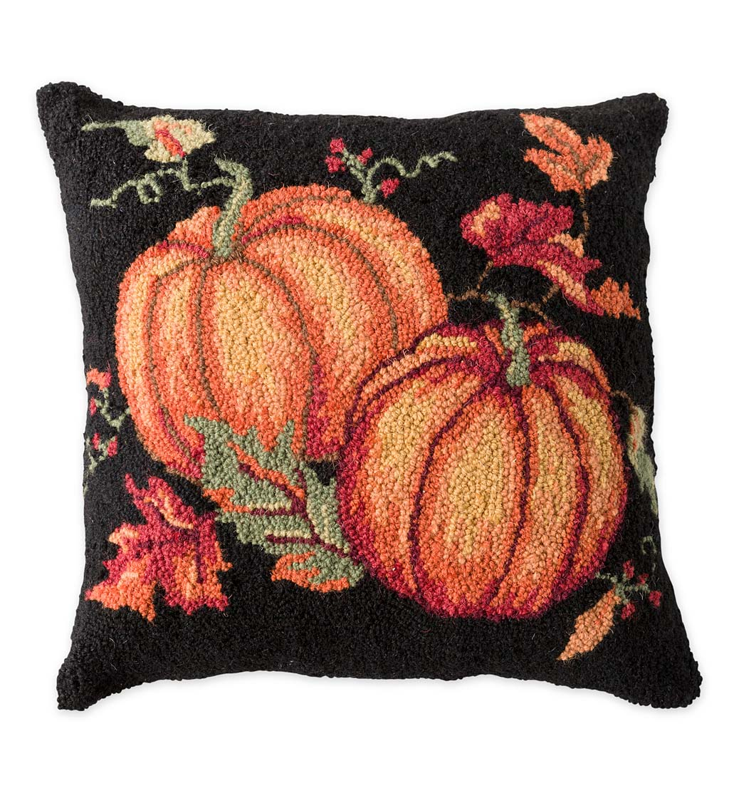 Hand-Hooked Wool Fall Pumpkins Throw Pillow