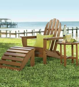 Poly-Wood™ Low-Maintenance Outdoor Adirondack Chair&Ottoman Set - GREEN