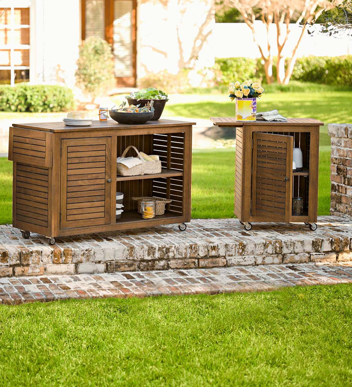 Eucalyptus Wood Rolling Carts, Lancaster Outdoor Furniture Collection