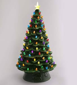 Indoor/Outdoor Battery-Operated Lighted Ceramic Christmas Tree