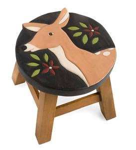 Hand-Carved Wood Deer Footstool