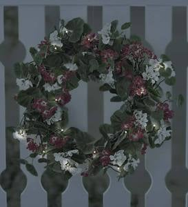 "Lighted Geranium Wreath, 22""dia."