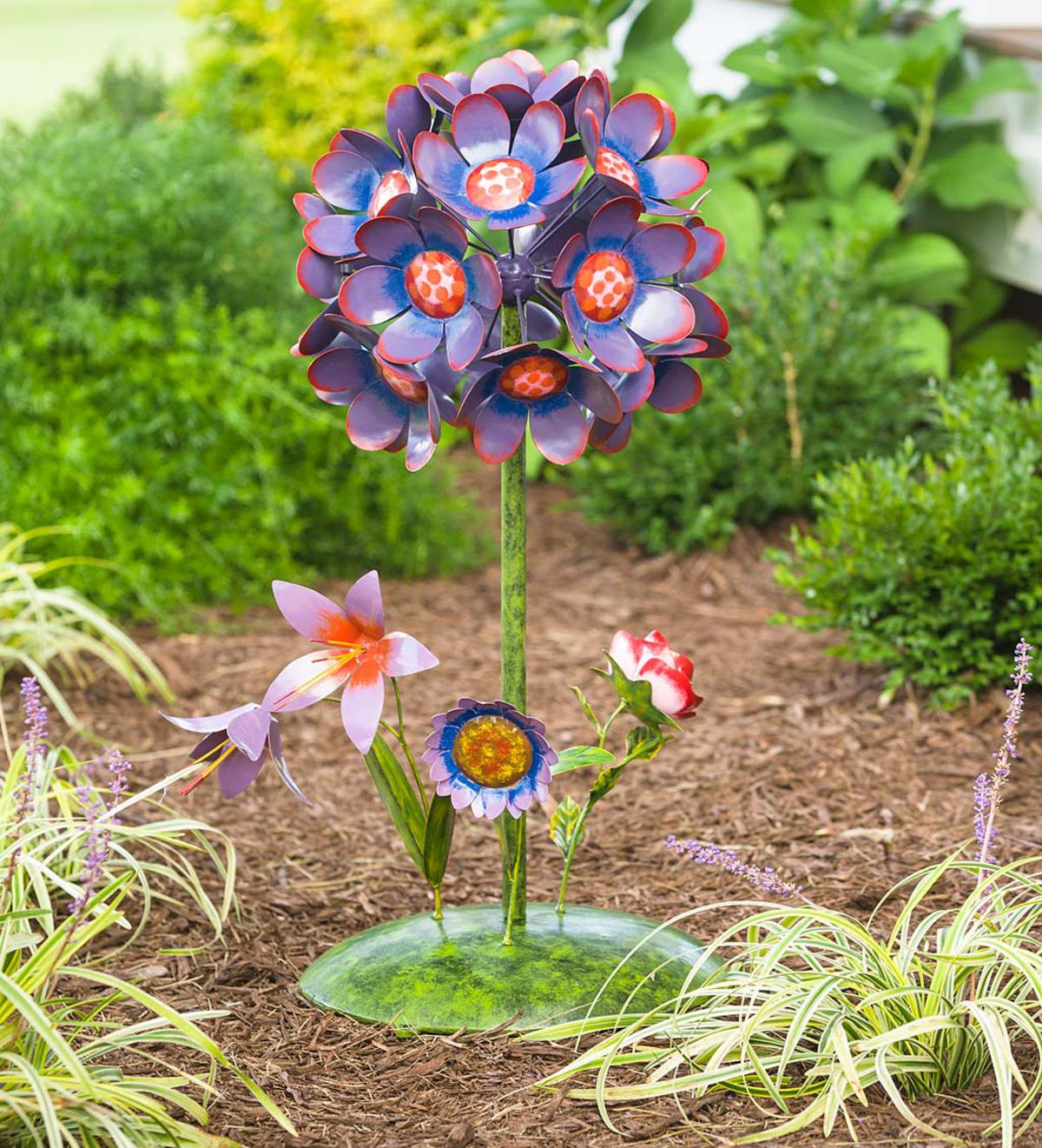 Flower Bouquet Metal Garden Stake - Purple