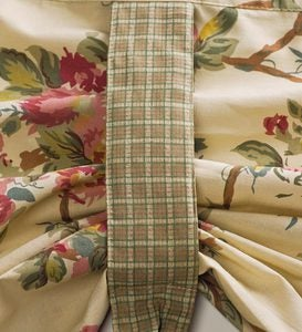 Tie-Up Floral Cotton Window Valance with Contrasting Ties - Tan Leaves
