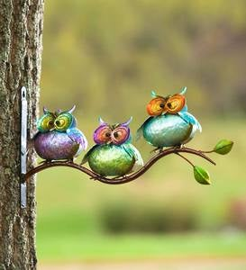 3 Metal Owls on Branch Wall Art