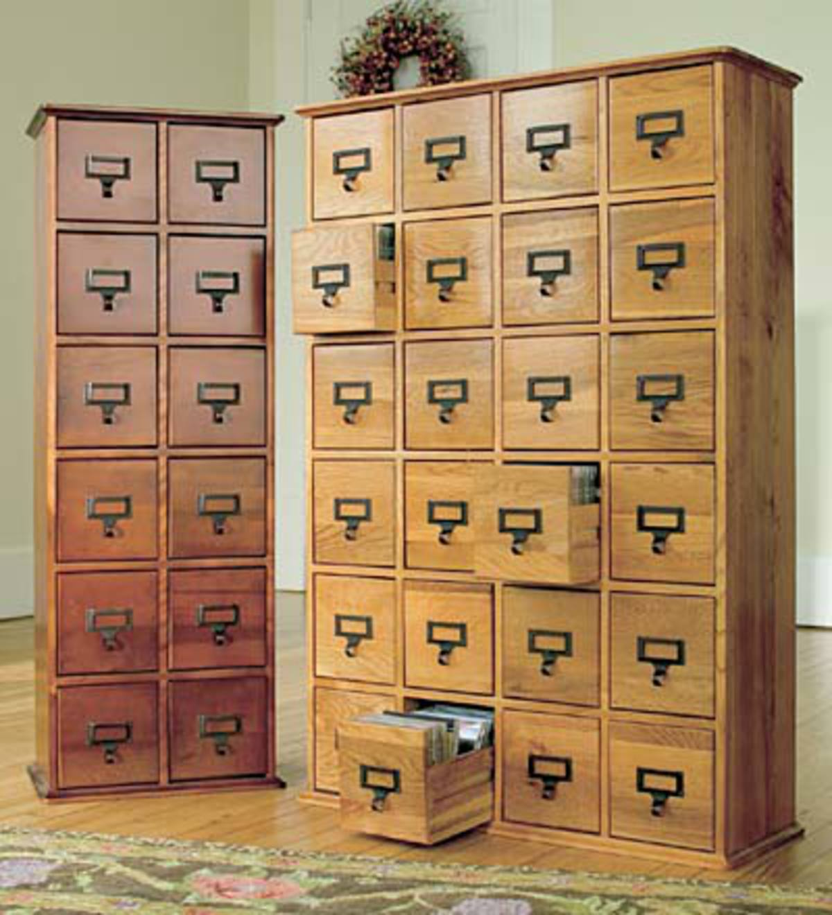 Retro Style Wooden Multimedia Library File Cabinets