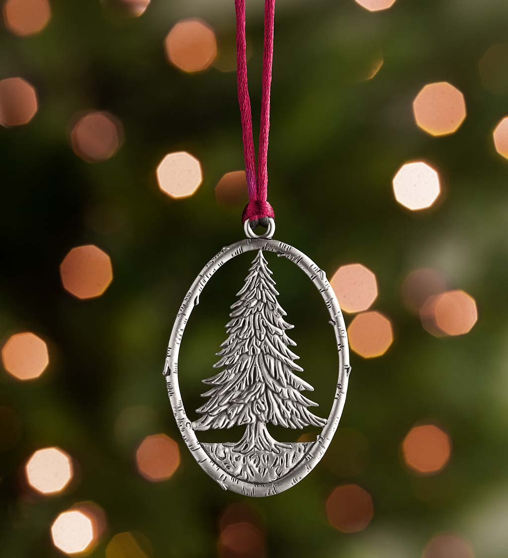 Solid Pewter Christmas Tree Ornament - Tree