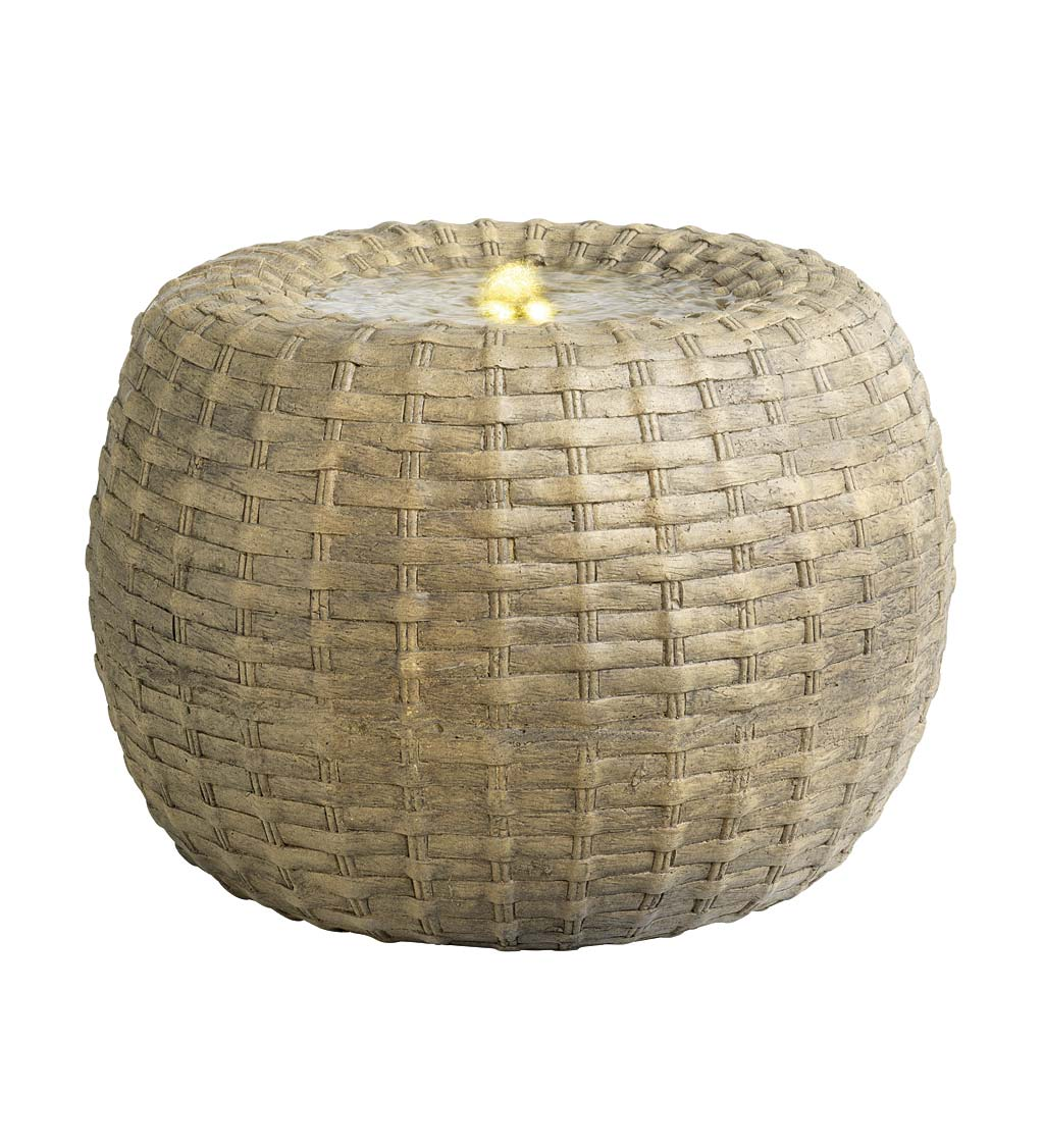 Indoor/Outdoor LED Lighted Wicker Round Basket Water Fountain swatch image