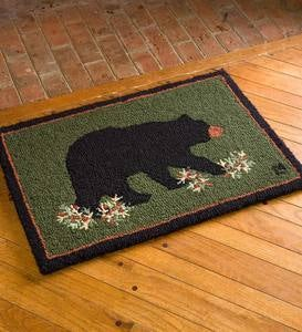 Hooked Wool Black Bear Accent Rug