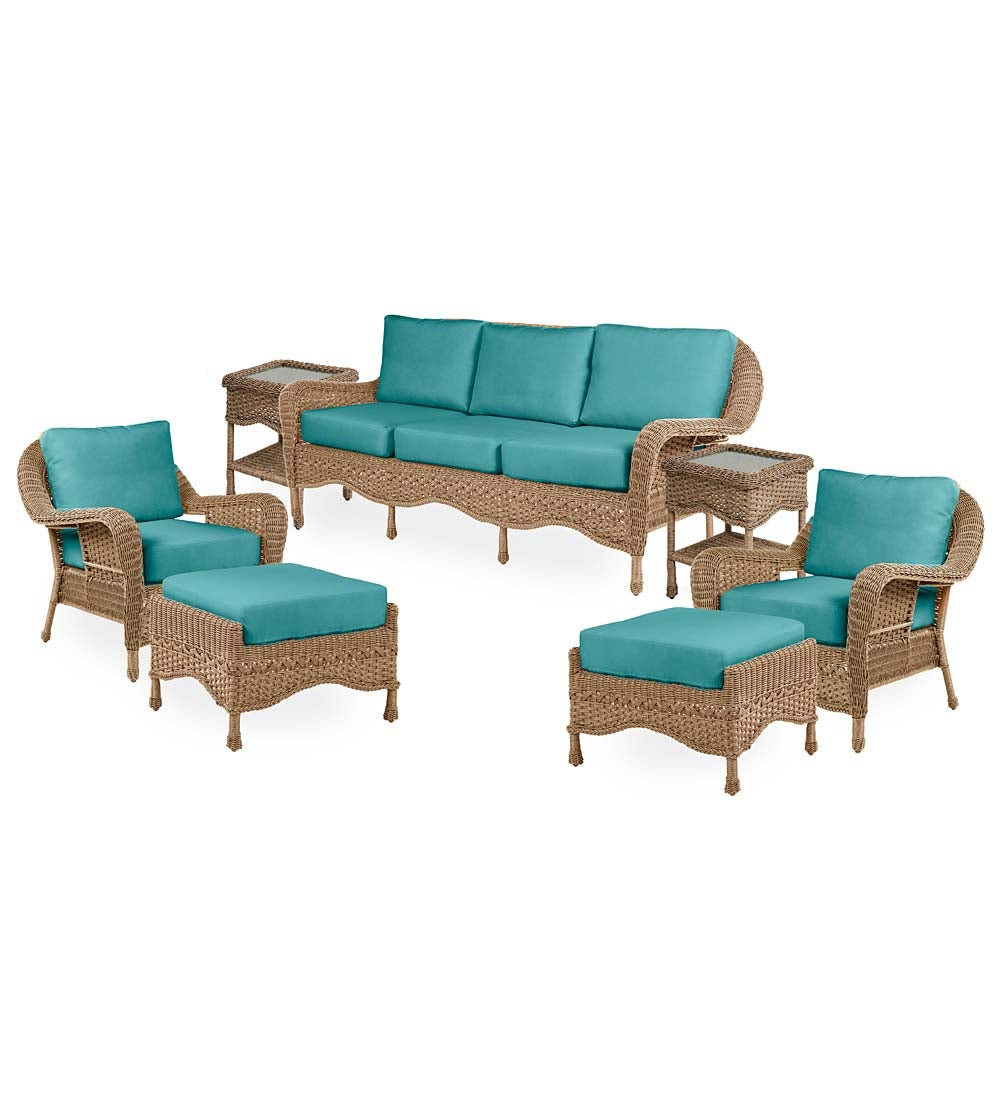 Prospect Hill Outdoor Wicker Deep Seating Sofa Set with Cushions