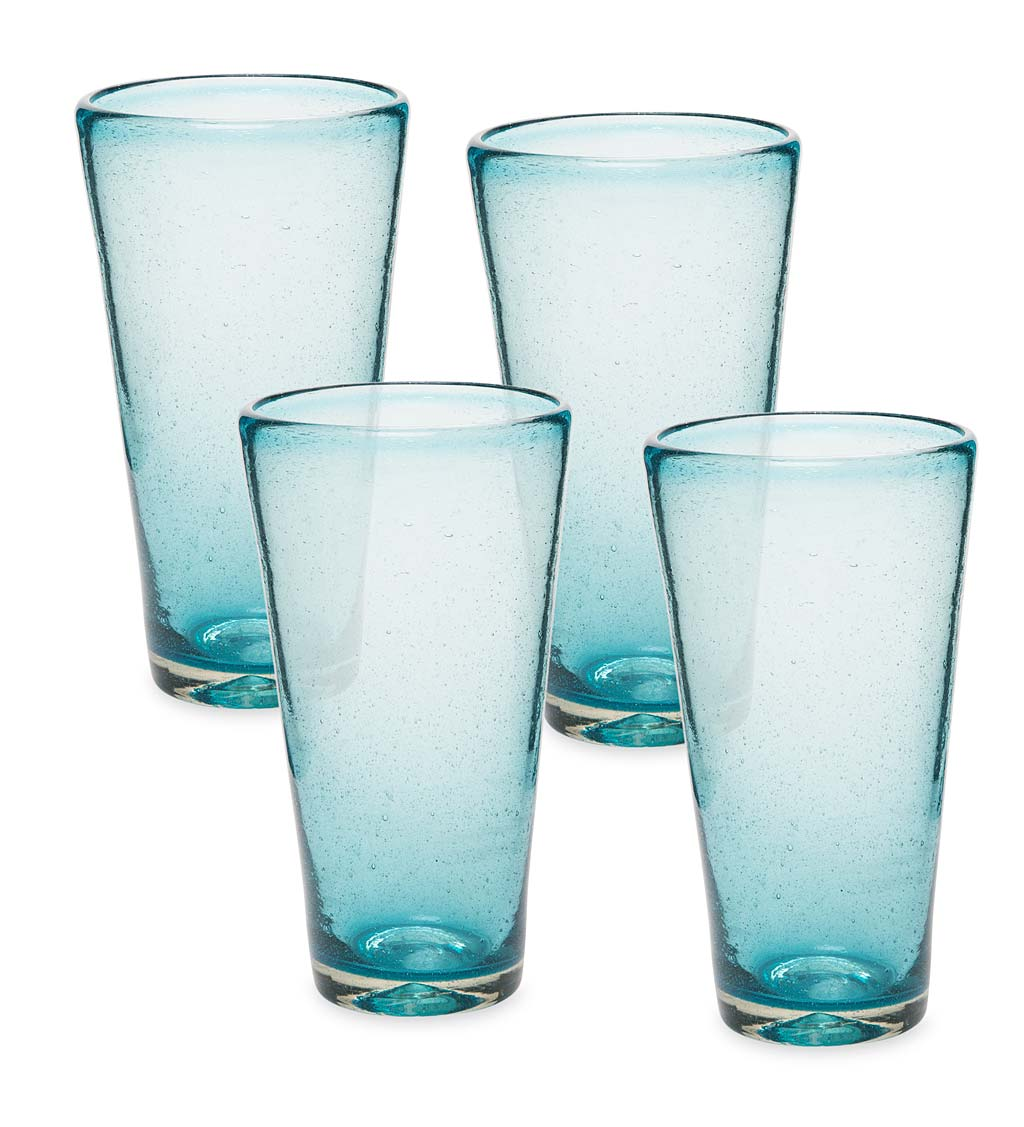 Bubble Recycled Glass Iced Tea Glasses, Set of 4