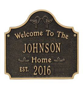 Cast Aluminum Personalized Love Birds House Plaque