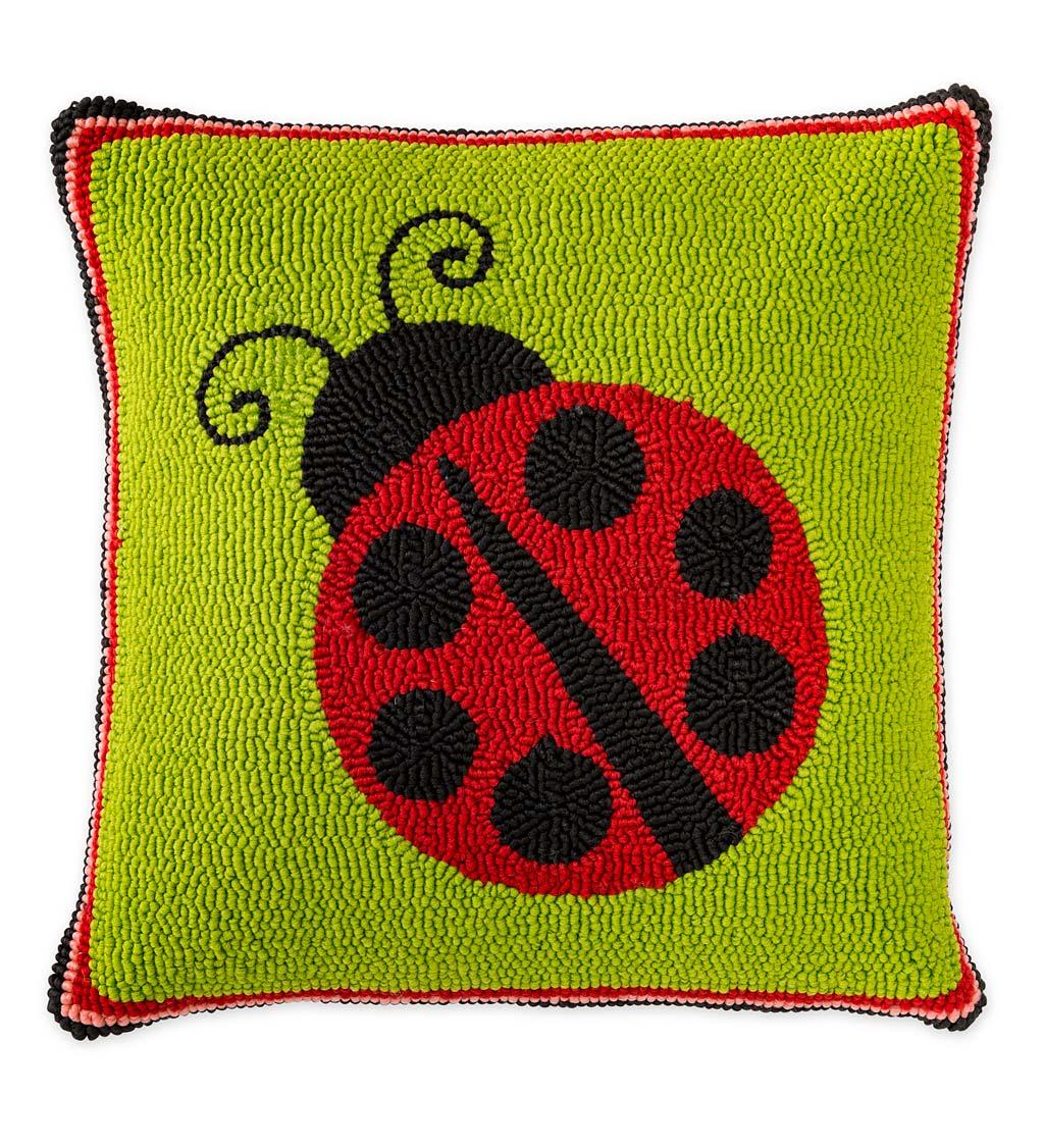 Indoor Outdoor Hooked Polypropylene Ladybug Throw Pillow Plowhearth