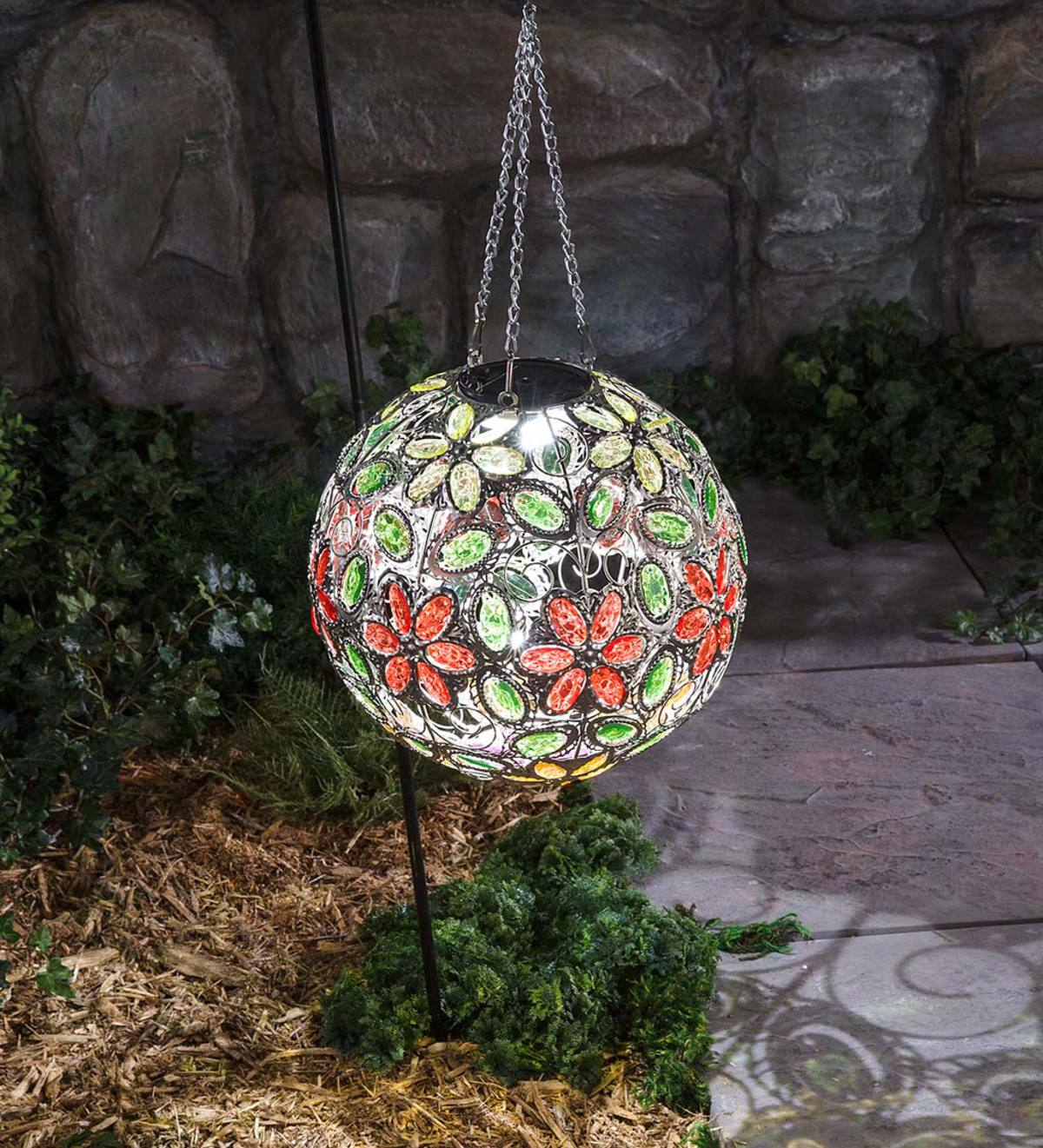 Hanging Solar Multi Flower Jewel Ball - Multi