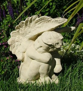 Made In USA Cast-Stone Crying Angel Garden Statue - Antique