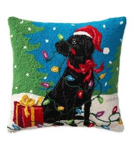 Hooked Wool Black Labrador with Christmas Lights Holiday Throw Pillow